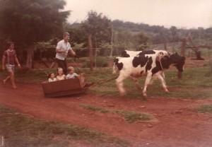 Sempre cercado de animais o Lino fazia do treinamento de animais uma diversão, e as crianças participavam disso.