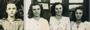 A esquerda a Bazelides com 17 anos, na época que o Lino a conheceu. Na foto da direita as três irmãs na época da visita.