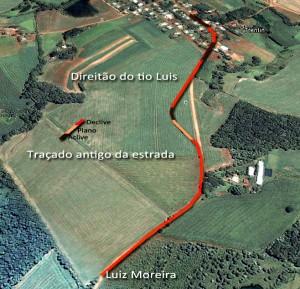 Sobre uma imagem do Google, tracei o que era a estrada naqueles tempos.  A descida do seu Luiz Moreira té o chatinho do tio Luis foi muito usada alguns anos mais tarde para descermos de carro de lomba.