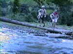 Toni (do Achiles) e Ana atravessando o rio pela pinguela improvisada enquanto a turma toma banho de rio.
